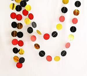 Generic Foil Circle Garlands 对开式 多种颜色 Gold Black and Red 小号