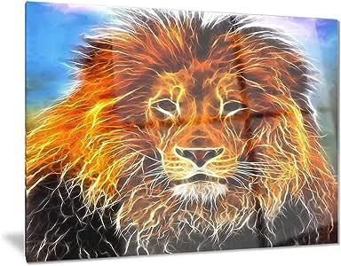 """丛林国王绘图 - 动物艺术金属墙壁艺术 - MT7181-28x12 28x12"""" MT7181-28-12"""