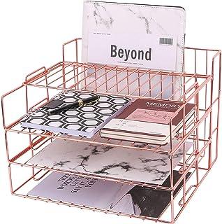 Z PLINRISE 纸托盘,3 个可堆叠的文件托盘,加上展示架和杂志架篮子,办公室桌面收纳架,适用于邮件、文件、文件夹、书籍等,玫瑰金
