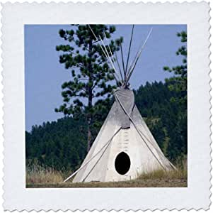 """3dRose Sd, Lakota Indian Teepee, Native American US42 CMI0278 Cindy Miller Hopkins Quilt Square, 14 by 14"""""""