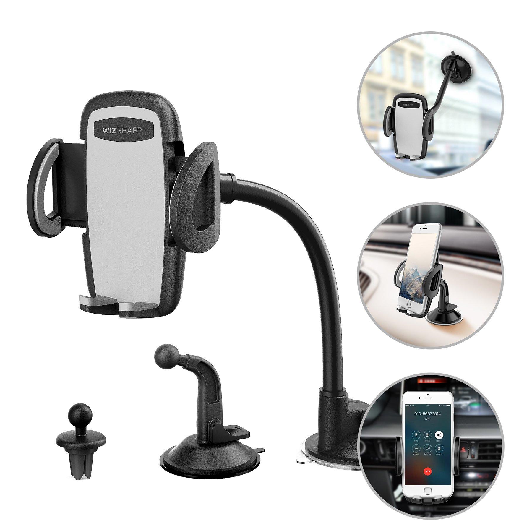 自動車電話ホルダー、WizGear 3イン1ユニバーサル自動車電話ホルダー、自動車電話インストルメントパネルと携帯電話ホルダー、フロントガラスのインストールと空気抜きホルダー