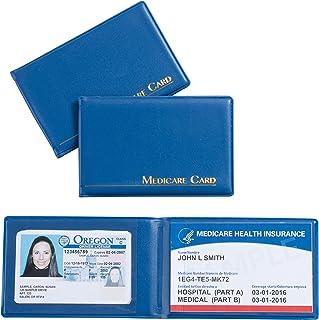 3 件装*证件卡套,Medicare 卡套,带 2 个透明卡套,社会*卡,驾驶证,*保险,亮蓝色卡套,3.8 x 2.5 英寸