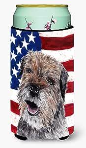 Caroline's Treasures SC9515-Parent Border Terrier Mix 美国国旗超饮料隔热器适用于苗条罐,多色 多种颜色 Tall Boy SC9515TBC