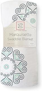 SwaddleDesigns Marquisette Swaddling Blanket, Premium Cotton Muslin, SeaCrystal Medallions