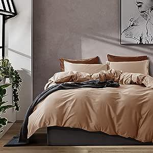 纯色埃及棉羽绒被套 奢华床上用品 高支 长绒棉缎 丝滑 柔软透气 比马 优质床上用品 Biscotti 米色 Queen unknown