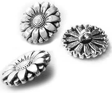 花朵纽扣 25Pieces Silver Tone-Chrysanthemum Button-Beads DIY Charms Pendants-17X17mm YL