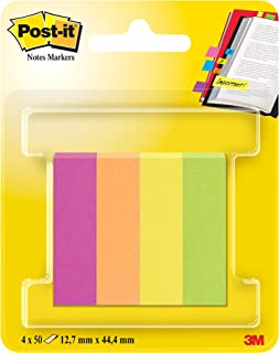 Post-it 670-4CA Haftstreifen Page Marker, schmal, 12.7 x 44.4 mm, 4 x 50 Blatt, farbig sortiert