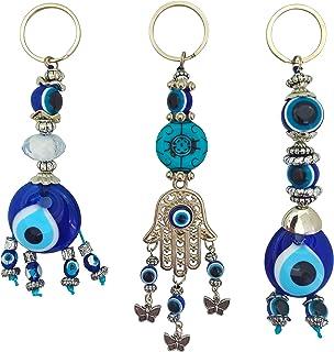Bead Global 土耳其蓝色邪眼钥匙链护身符 - Hamsa Fatima 之手 - 男女皆宜的礼物(3 件套) 蓝色