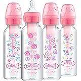 Dr. Brown's Options + 婴儿奶瓶,8 盎司/250 毫升,窄瓶,粉色花卉设计,4 件装