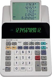 Sharp EL-1901 无纸打印计算器,含方格和准确,12 位 LCD 主显示屏,功能与打印计算器/添加机器与滚动 LCD 显示屏相同,而不是纸张 Compact