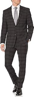 Perry Ellis 男式两件套修身西装 灰色格子 42 Short