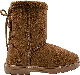 Chatties Chatz 女式一脚蹬中筒 8 英寸(约 20.3 厘米)仿麂皮冬季靴,带人造皮饰边和系带后背