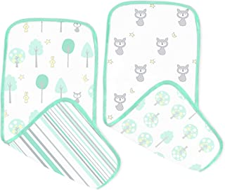 SwaddleDesigns Muslin Green Woodland Burpies, Sea Crystal