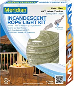Meridian Electric 36006 6 英尺白炽绳灯,透明