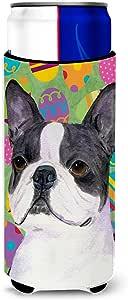Caroline's Treasures SS4861 - Parent Boston Terrier 复活节彩蛋超饮料隔热器适用于苗条罐 SS4861MUK,多色 多种颜色 Slim SS4861MUK