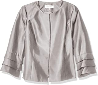 Kasper 女士闪亮宝石领夹克,带荷叶边袖细节