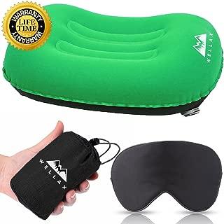 WellaX 超轻野营枕 - 可压缩,紧凑,充气,舒适,符合人体工程学的颈部和腰部支撑枕,露营时能安睡,背包
