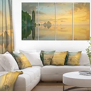 designart 4件套多彩天空和桌面上的海滩大海景艺术油画印刷品