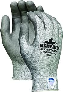 Memphis Glove 9676L UltraTech Dyneema 13 Gauge PU 涂层可洗手套,盐和胡椒,大号 X大码 9676XL