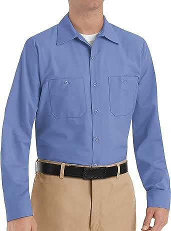 Red Kap 男式工业长袖工作衬衫 Postman 蓝色 Small