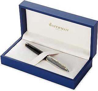 Waterman Carène Deluxe 豪华钢笔,23k镀金笔夹,蓝色墨囊,精细笔尖,带礼品盒,亮黑色和银色