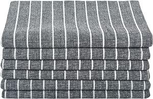 SINLAND 亚麻餐巾超大尺寸餐巾,裁剪斜角,大下摆 50.8 厘米 x 50.8 厘米 6 件装 黑色