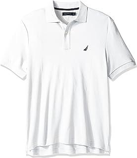 Nautica 男士经典柔软棉质纯色短袖Polo衫,亮白色,X-Small