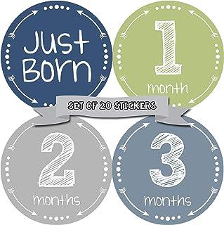 月龄运动婴儿月度贴纸 - 婴儿里程碑贴纸 - 新生儿男孩贴纸 - 月龄贴纸 - 男宝宝贴纸 - 新生儿月里程碑贴纸 - 20 件套