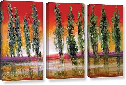ArtWall Susi Franco's Tuscan Cypress 日落 3 件套画廊包边帆布套装 36x54 0fra049c3654w