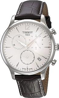 Tissot 天梭 男式 T063.617.16.037.00 不锈钢传统手表纹理皮革表带