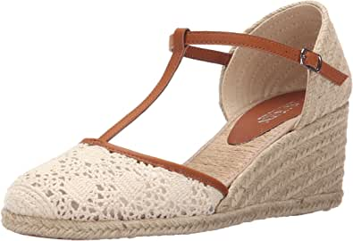 Lauren Ralph Lauren Carolina 女士帆布坡跟凉鞋 天然/Polo 棕褐色棉/抛光瓦丘特拉 Pu 6 B(M) US