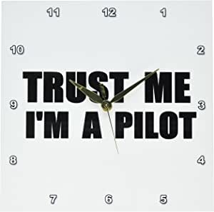 3dRose dpp_195646_1 Trust Me I'm a Pilot Piloting or Air Force Work Humor Funny Job Gift Wall Clock, 10 by 10-Inch