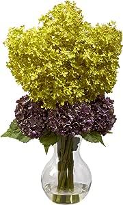 """天然 Bostonian Hydrangea 丝绸花 绿色/紫色 7.5"""" x 9"""" x 30"""" 1304"""