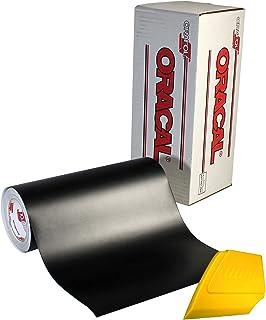 Oracal 751 优质长期室内和室外工艺乙烯基 30.48 厘米 x 50.80 厘米卷适用于切割机和绘图仪,包括硬黄色精细刮刀(哑光黑色)