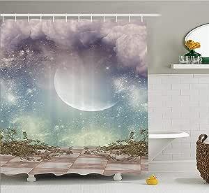 可爱猫头鹰树上浴室浴帘122cm x 183