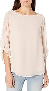 Calvin Klein 女式荷叶边袖圆领衬衫