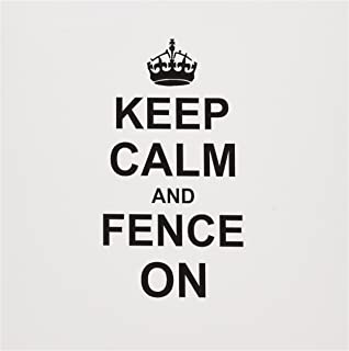 InspirationzStore 排版 - Keep Calm and Fence on - carry on Fencing - 送给栅栏的礼物 - 剑格斗运动趣味幽默 - 贺卡 Individual Greeting Card