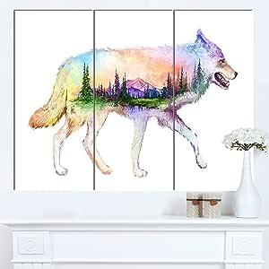"""Designart MT14516-271 狼双曝光插图 - 大型动物帆布金属墙壁艺术,白色,121.92x71.12 白色 36x28"""" - 3 Panels MT14516-3P"""