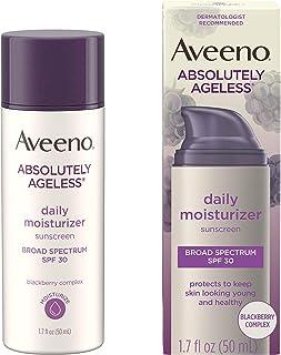 Aveeno 艾惟诺 Absolutely Ageless  抗皱保湿霜,含SPF 30防晒,富含抗氧化剂黑莓复合物,维生素C和E,不致粉刺 无油保湿霜,1.7 液体盎司/50毫升