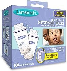 Lansinoh兰思诺 母乳储存袋,100计数,不含双酚a自由和BPS (包装可能不同)