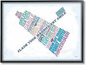 Stupell Industries 家居装饰系列 Flash Your Smile Typography 浴室超大带框艺术微喷纹理艺术,木质,多色,16 x 1.5 x 20 cm