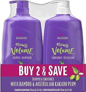 Aussie Miracle Volume 洗发水 & Aussie 奇迹护发素,两个 26.2 盎司泵瓶