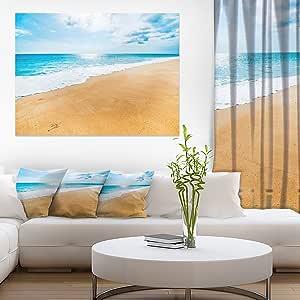 """设计艺术 Serene 海滩和太阳日光现代海滩帆布艺术印刷品 蓝色 20x12"""" PT10442-20-12"""