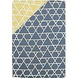 棉* 日式图案 被套 「岳」 日本制造 两面用 藏青色×黄色 掛け布団カバー/シングルロング 150×210cm 223570-72