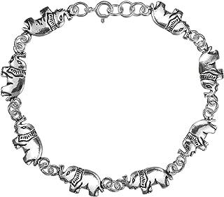 AeraVida 双面大象 925 纯银环形手链
