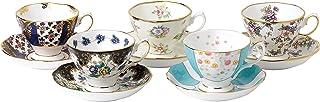 Royal Albert 40017543 100年1900-1940 茶杯和茶碟套装,多色,5件