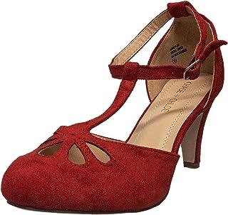 Chase & Chloe Kimmy-36 [麂皮] 圆头 T 形绑带踝扣泪滴女式复古浅口鞋