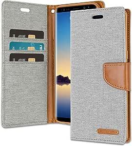 Galaxy Note 8 钱包式手机壳 附赠 4 赠礼品 [防震] GOOSPERY 帆布日记本。磁性[牛仔材料]卡包带支架翻盖盖三星 Galaxy Note8 灰色/棕色