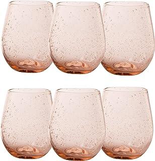 TAG 泡泡玻璃杯 453.59 毫升 无柄酒杯(6 件装)特色葡萄酒杯清洁毛巾(7 件装)