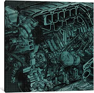 """iCanvasART 1 Piece Engine Block Blueprint Canvas Print by Kane, 37 by 37""""/1.5"""" Deep"""